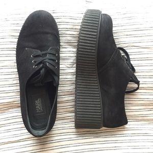 Karl Lagerfeld Shoes - Karl Lagerfeld Black Suede Laced Flatform Creepers